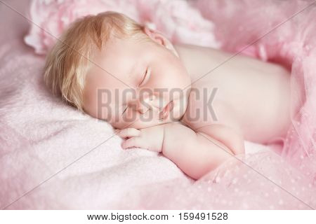 Portrait Of Adorable Sleeping Baby Girl Over Pink, Infant Child.