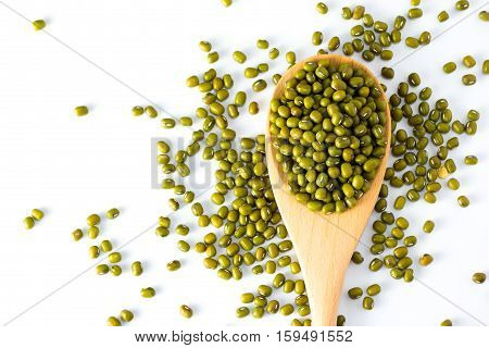 spoon of Mung Beans on White Background