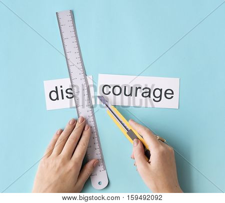 Discourage Impatient Hands Cut Words Split Concept