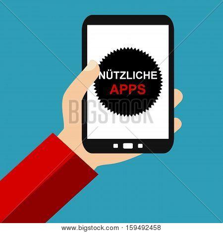 Hand holding Smartphone: Useful Apps in german language - Flat Design