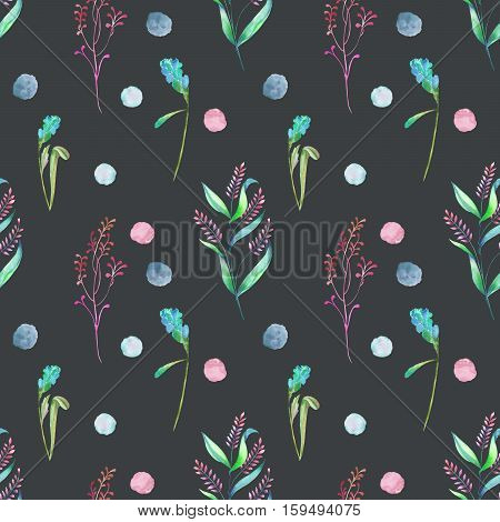 Seamless floral pattern with forest floral elements and watercolor spots hand drawn in watercolor on a dark background