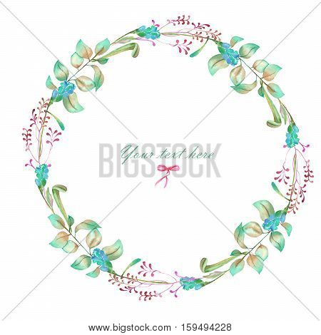 Circle frame, wreath of floral elements, hand painted in watercolor on a white background, greeting card, decoration postcard or invitation
