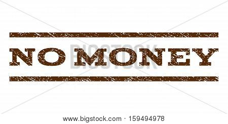 No Money watermark stamp. Text tag between horizontal parallel lines with grunge design style. Rubber seal brown stamp with scratched texture. Vector ink imprint on a white background.