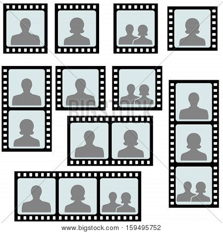set of photo frames picture slide avatar woman and man on the slide of the negative film, the family concept, vector illustration template for photo frames