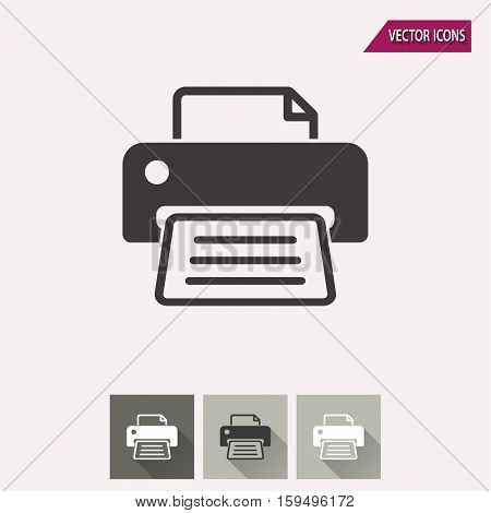 Printer vector icon. Illustration isolated for graphic and web design.