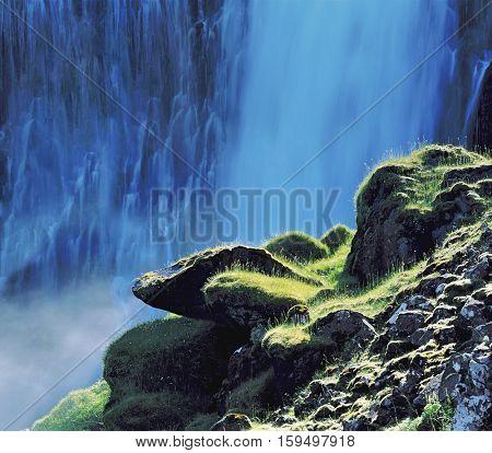 Mossy Rocks before Waterfall