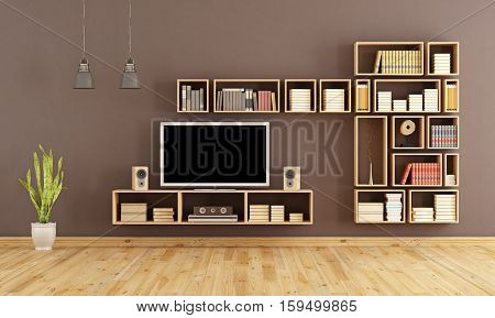 Brown Living Room With Tv