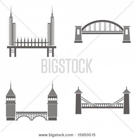 Vector illustrations of bridges.
