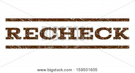 Recheck watermark stamp. Text caption between horizontal parallel lines with grunge design style. Rubber seal brown stamp with unclean texture. Vector ink imprint on a white background.