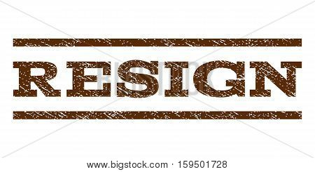 Resign watermark stamp. Text caption between horizontal parallel lines with grunge design style. Rubber seal brown stamp with dirty texture. Vector ink imprint on a white background.