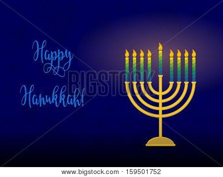 Greeting card for jewish holiday of Hanukkah. Hanukkah menorah traditional candle holder for nine candles and congratulation - Happy Hanukkah vector illustration.