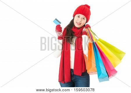 Young Asian Woman. Christmas Sale Shopping With Credit Card