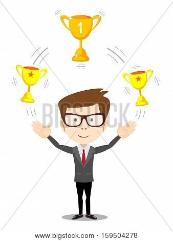 Cartoon businessman juggling with gold trophy goblet , he celebrates his victory
