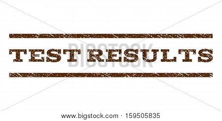 Test Results watermark stamp. Text tag between horizontal parallel lines with grunge design style. Rubber seal brown stamp with dirty texture. Vector ink imprint on a white background.