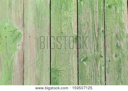 Old Green Obsolete Wooden Board Background Texture.