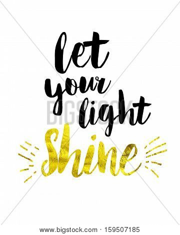 Let Your Light Shine Bible Scripture Art Christian Concept with Gold Shine Letters and Light Rays