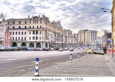MOSCOW RUSSIA - November 22.2014: Street Theatre Proezd to the historic city center. Building Metropol Hotel and the State Duma