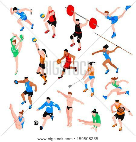Sport isometric set with sportsmen of ball olympic games throwing competition athletics isolated vector illustration