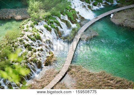 Wooden Tourist Path In Plitvice Lakes Park