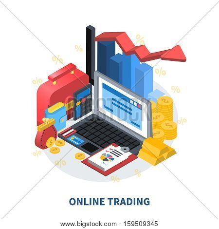 Online trading financial isometric icons composition with diagram arrow columns credit card gold coins money wallet suitcase vector illustration