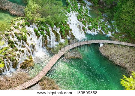 Wooden Path In Plitvice Lakes National Park