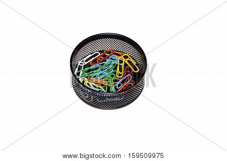 view of paperclip in black box isolated on white background