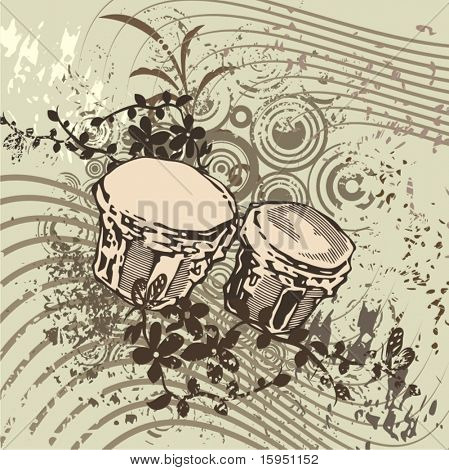 Grunge music instrument background with drums.