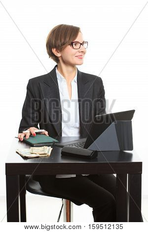 girl plans to budget. Dollar said. on a white background