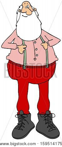 Illustration of Santa Claus in a pink t-shirt pulling out his green suspenders.