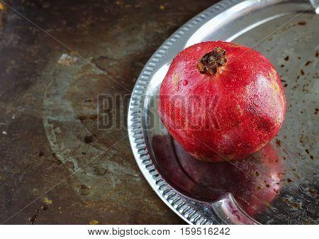 Fresh  Pomegranate On A Tray
