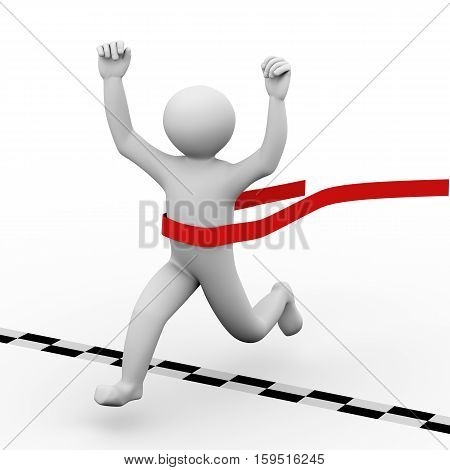 3D Winning Person Crossing Finish Line