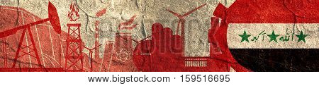 Energy and Power icons set. Header banner with Iraq flag. Sustainable energy generation and heavy industry. Concrete textured