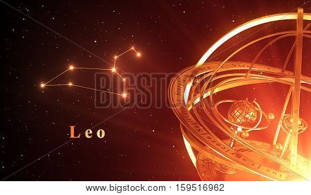 Zodiac Constellation Leo And Armillary Sphere Over Red Background. 3D Illustration.