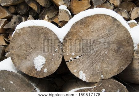 storage of cut wood, Firewoods, log pieces stored under snow in winter