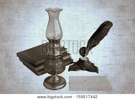 Blank paper card oil lamp and inkwell with a quill pen. Photos with the effect of natural canvas in duotone.