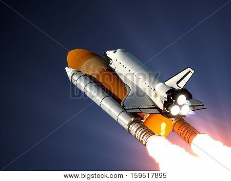 Space Shuttle Launch In The Sky. 3D Illustration.