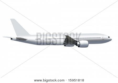 white commercial airplane on white background with path