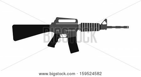 Modern Weapons Rifle. Flat Style Equipment. Isolated Weapons And Tools. Vector Illustration
