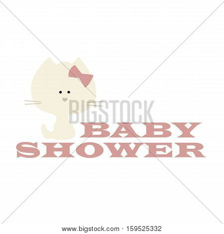 cute icon poster with a kitten baby shower on a white background. Vector illustration. Baby shower or arrival