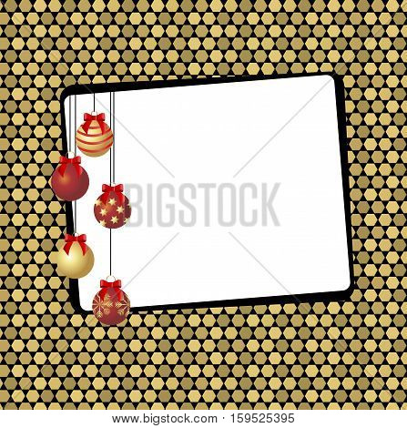 festive frame on a gold background with cells. Christmas background for greeting or invitation. Vector illustration