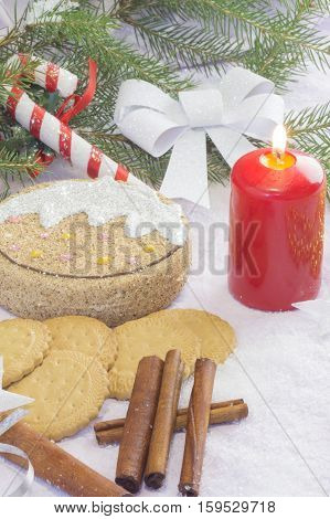 Christmas card with Christmas tree and decorations. Festive Christmas card biscuit candle candy