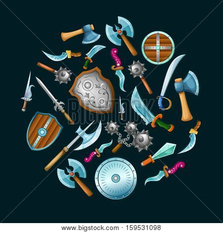 Medieval weapon set in circle shape with shields sword saber mace on black background isolated vector illustration