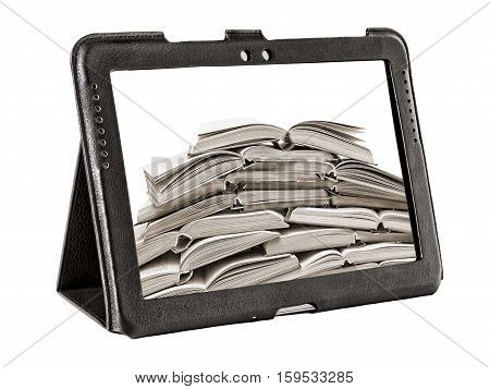 stack of books on a tablet screen isolated on white background