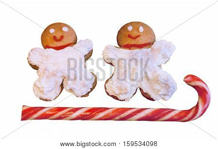 Homemade cookies with cream and candy cane isolated on white background