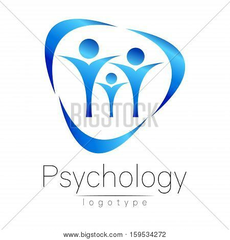 Modern Family logo of Psychology. People in a circle. Creative style. Logotype in vector. Design concept. Brand company. Blue color isolated on white background. Symbol for web, print, card
