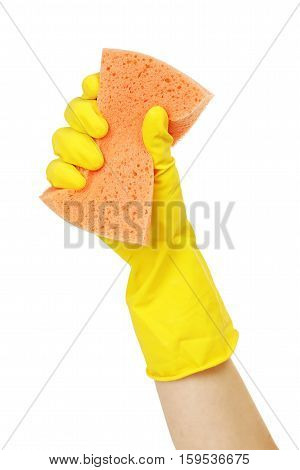 hand in rubber glove with sponge isolated on white