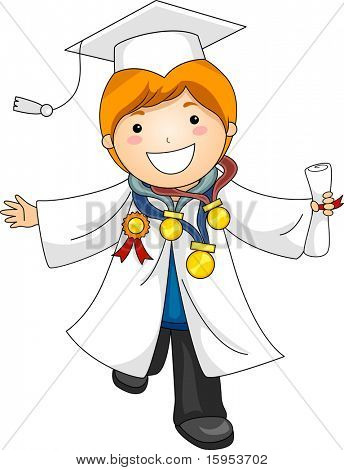Illustration of a Boy Decorated with Medals