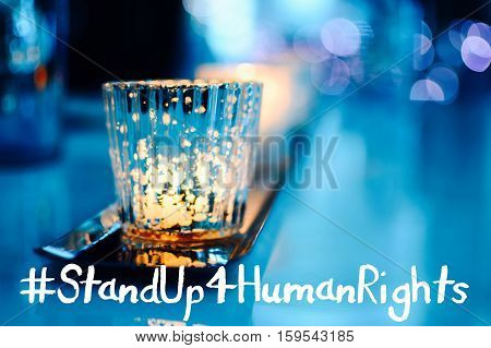 Human Rights Day Hashtag #Standup4humanrights banner image card web or social network campaign photo Stand Up For Human Rights with copy space