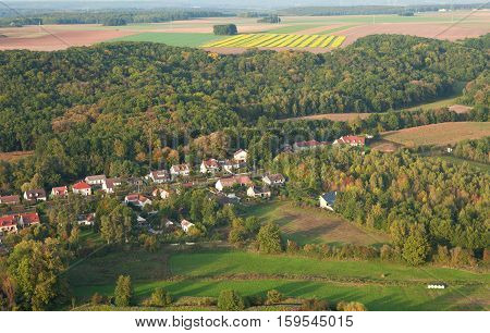Aerial View Of Small French Village In Ile-de-france