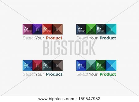 Set of abstract square interface menu navigation buttons with sample infographic content